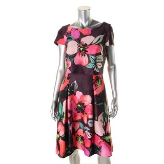 Vince Camuto Womens Floral Print Short Sleeves Wear to Work Dress - 10