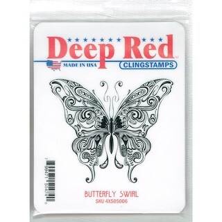 Deep Red Stamps Butterfly Swirl Rubber Cling Stamp - 3.2 x 2.75