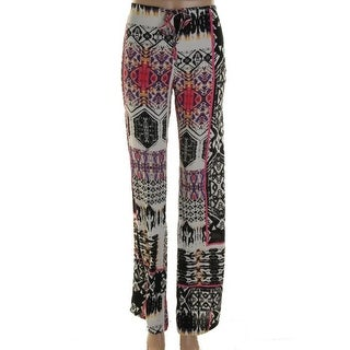 Felicite Womens Printed Flat Front Casual Pants