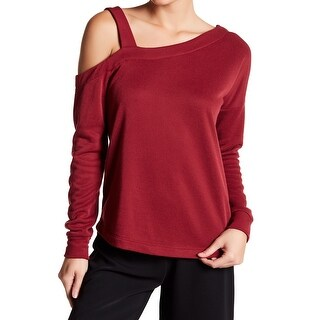 Harlowe & Graham Red Womens Medium M One-Shoulder Pullover Sweater