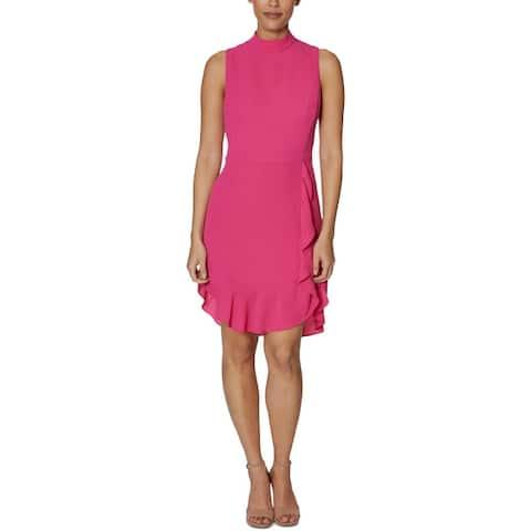 Betsey Johnson Womens Petites Party Dress Ruffled Mock Neck - Watermelon Bliss