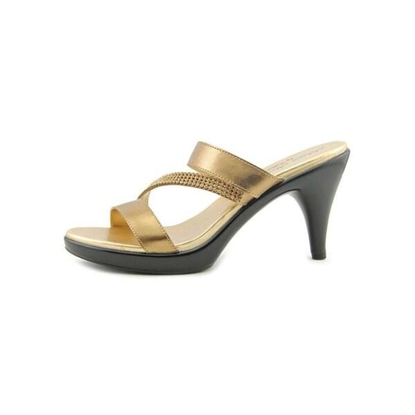 Athena Alexander Womens Mindye Open Toe Special Occasion Slide, Bronze, Size 9.0