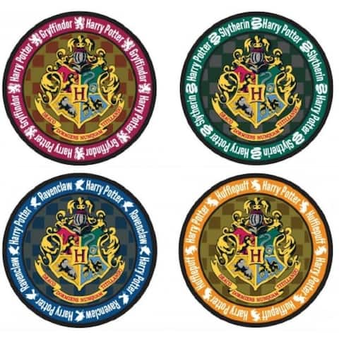 Harry Potter School Crest 4-Piece Coaster Set: Round - Multi
