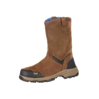 Georgia Boot Work Men Blue Collar Waterproof Wellington Brown GB00105