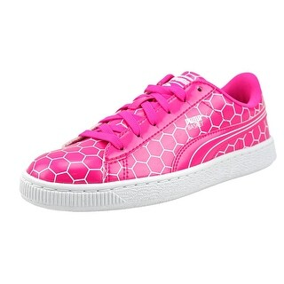 Puma Basket Classic Ano Jr Youth Patent Leather Pink Fashion Sneakers (Option: 7)
