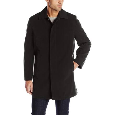 Haggar Deep Black Mens Coat Size Medium M Button Front Layered Lined