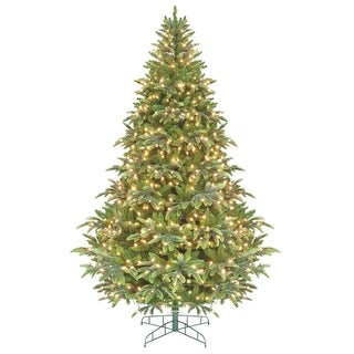 7.5' Green Pre-Lit Instant Power Cascade IPT Christmas Tree - Clear Lights