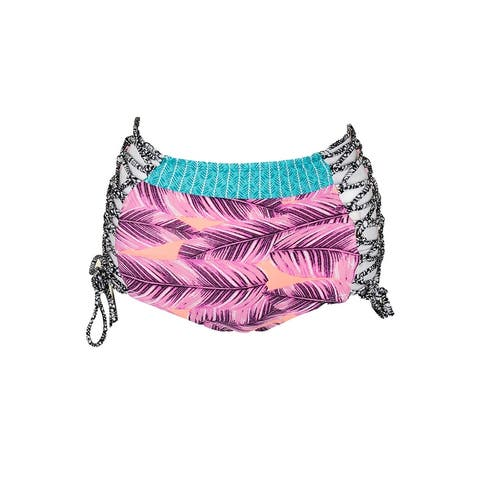 Hula Honey Juniors Pink Multi Printed Strappy High Waist Bikini Bottom XS