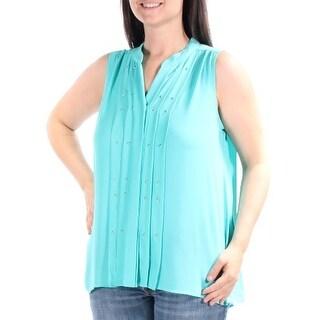 ALFANI $60 Womens New 1035 Turquosie Beaded, Pleated Vest Top 12 B+B
