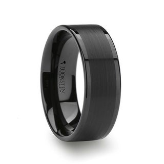 THORSTEN - VULCAN Flat Black Tungsten Ring with Brushed Center & Polished Edges - 7mm
