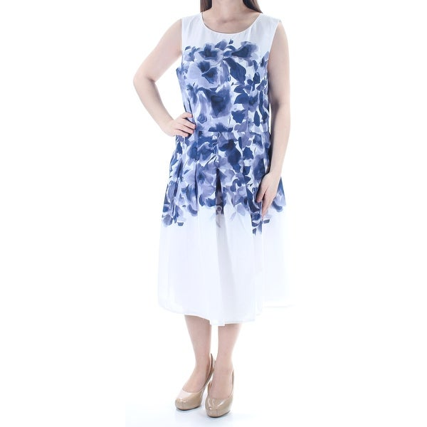 46a78f8bf85 TOMMY HILFIGER Womens New 1511 White Navy Floral Pleated Sleeveless Dress  10 B+B