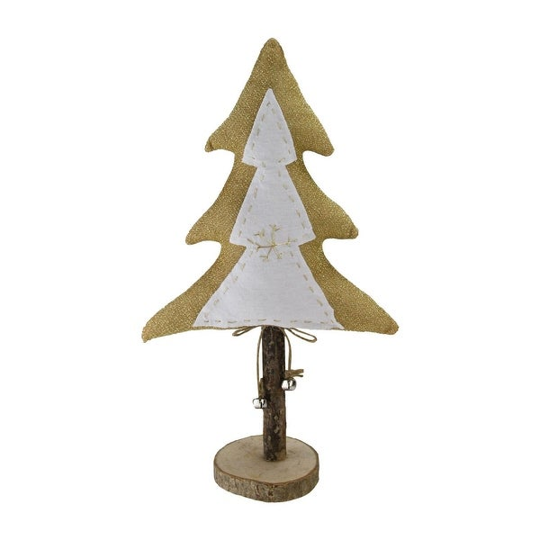 "16"" White and Golden Fabric and Wooden Christmas Tree With Bells - GOLD"