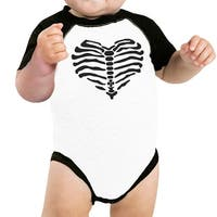 Skeleton Heart Baby Raglan Shirt Funny Graphic Baby Baseball Bodysuit