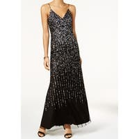 Adrianna Papell Womens Sequinced V-Neck Gown Dress