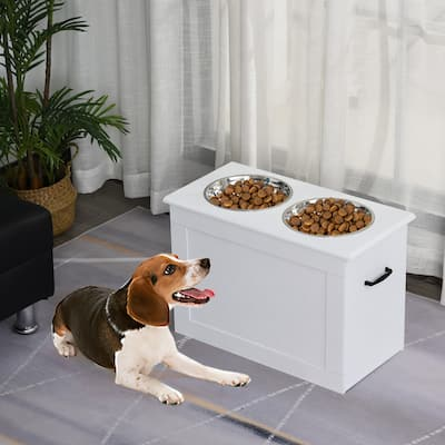 """PawHut Dog Feeding Station with 2 Stainless Steel Bowls for Large Dogs - 23.5""""L x 11.75""""W x 16.25""""H"""