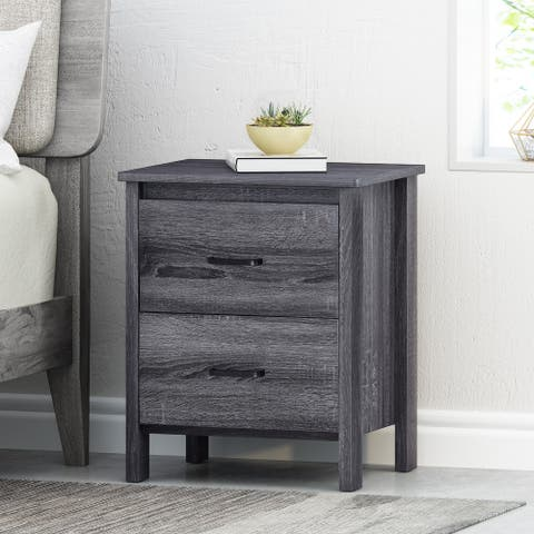 Olimont Contemporary 2 Drawer Nightstand by Christopher Knight Home