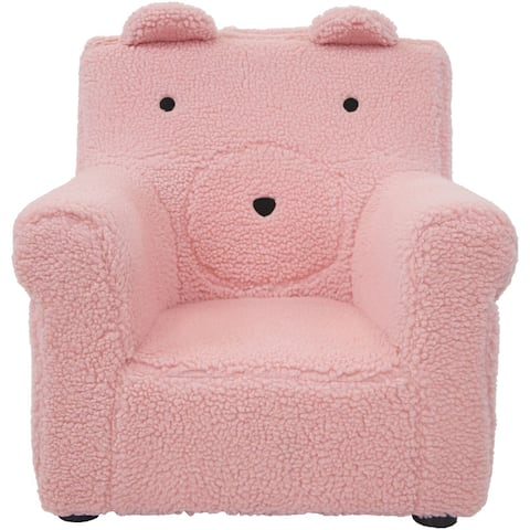 Critter Sitters 20-In. Plush Pink Bear Animal Shaped Mini Chair, Furniture, Nursery, Bedroom, Playroom, Living Room