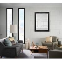 Wood Frame Wall Mounted Mirror Modern Elegant Rectangle, Espresso Black Finish MADE IN USA - 44X34