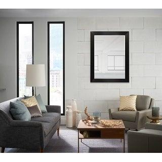Wood Frame Wall Mounted Mirror Modern Elegant Rectangle, Espresso Black Finish MADE IN USA - 30X30