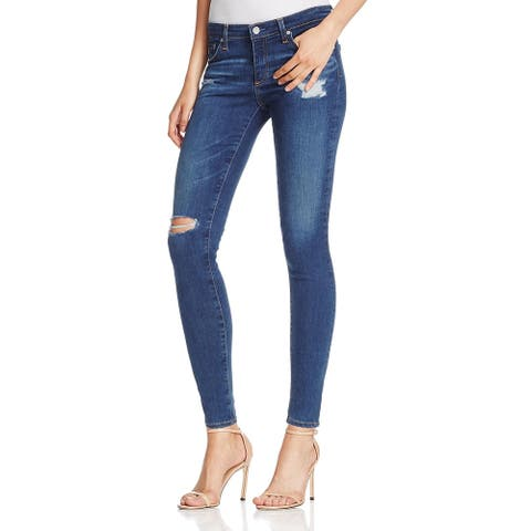 AG Adriano Goldschmied Womens The Legging Skinny Jeans Denim Destroyed - Blue