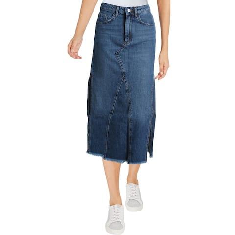 Free People Womens Walk In The Park Denim Skirt Fringed Midi - Blue