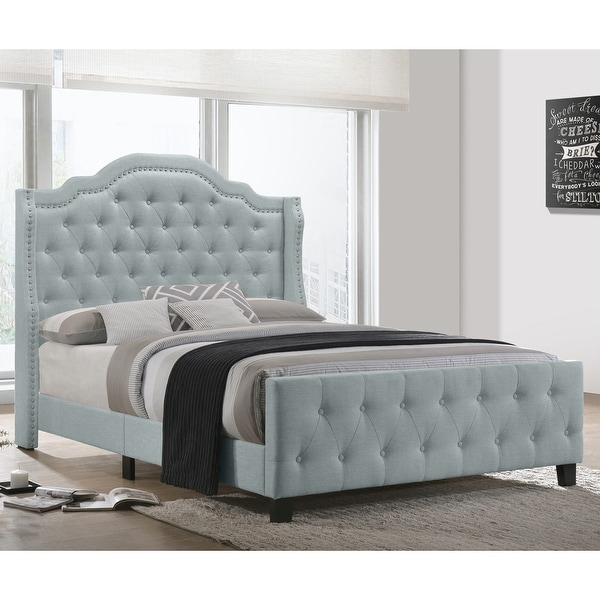 Best Quality Furniture Button Tufted Beds with Chrome Silver Nailhead Trim. Opens flyout.