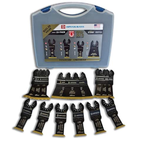 Imperial Blades IBOATV-15 One Fit Titanium Storm Variety Pack Kit with Case, 15 Piece