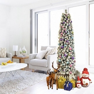 Link to 7.5ft Pencil Flocking Artificial Christmas Tree with Stand White Similar Items in Christmas Greenery
