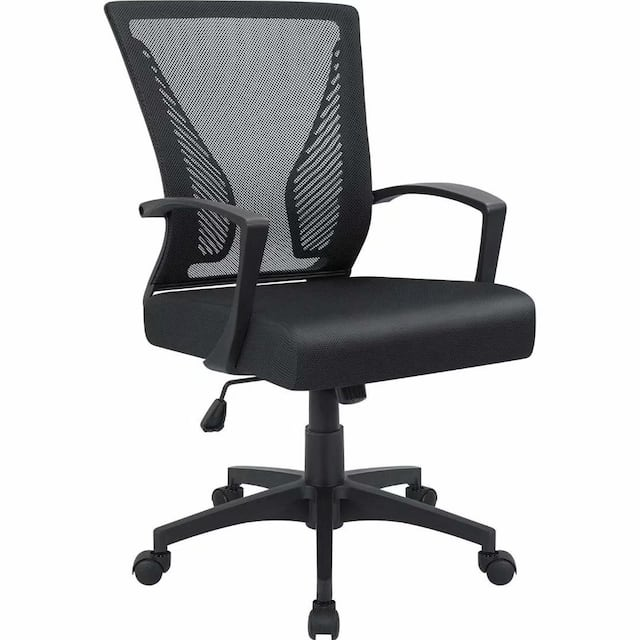 Office Chair Mid Back Swivel Lumbar Support Desk Chair, Computer Ergonomic Mesh Chair with Armrest - Black