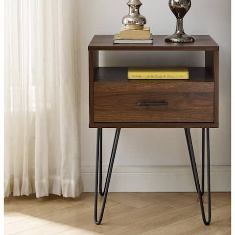 Carson Carrington 18-inch 1-Drawer Hairpin Side Table