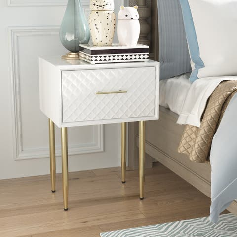 COZAYH Modern Contemporary Spacious Drawer Nightstand Side Table, Clean-Lined Transitional Style