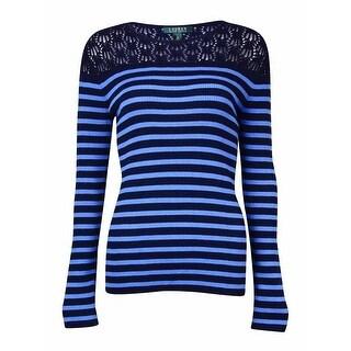 Lauren Ralph Lauren Women's Pointelle Striped Knit Sweater