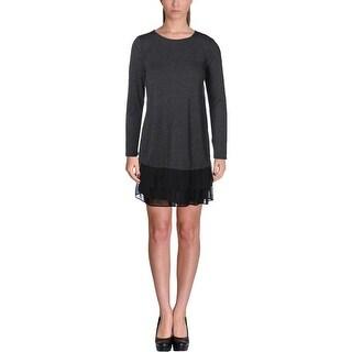 Kensie Womens Casual Dress Chiffon Trim Colorblock
