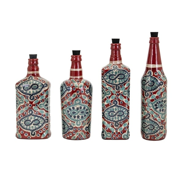 """Set of 4 Red and Blue Country Rustic Hand Painted Bottles 11.5"""""""