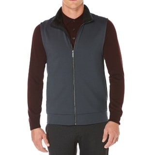 Perry Ellis NEW Navy Blue Mens Size XL Full-Zip Fleece Vest Sweater