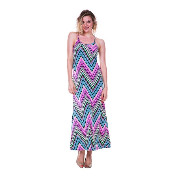 708013cf343bb Shop Multi-Color Chevron Maxi Dress - Pink - Free Shipping On Orders ...