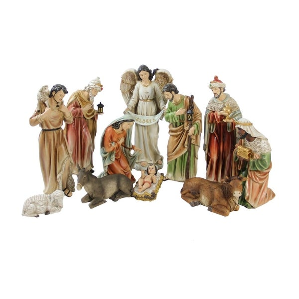 """11-Piece Traditional Religious Christmas Nativity Set with Removable Baby Jesus 15.5"""" - multi"""