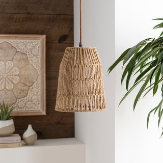 "Link to Minna Bohemian Rattan Cage 1-light Pendant - 9.5"" x 8.5"" x 8.5"" Similar Items in Pendant Lights"