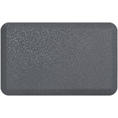 "NewLife By GelPro Prof. Grade Embossed Vine Anti-Fatigue Mat-Grey Mist - 20""x32"""