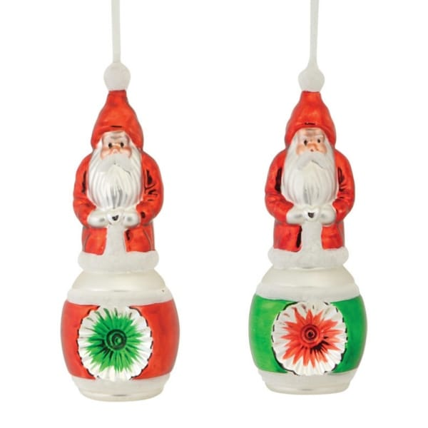 Club Pack of 24 Glass Santa Claus with Silver Heart and Starburst Christmas Ornaments 9""