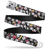 Mickey & Minnie Emojis Close Up Full Color Black Mickey & Minnie Emojis Seatbelt Belt