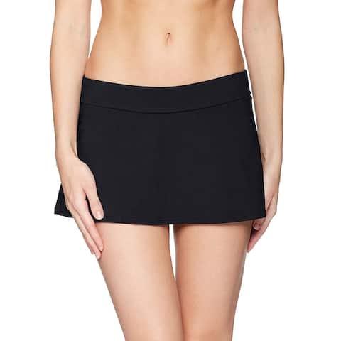 Anne Cole Women's Swimwear Black Size XL Swim Skirt Solid Elastic-Waist
