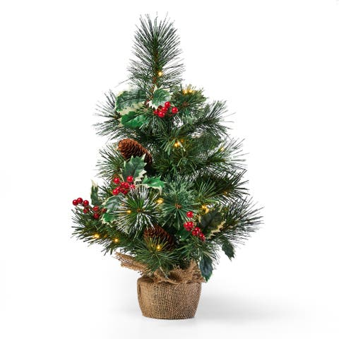 "Rosetta 18"" Pine Pre-Lit Clear LED Pre-Decorated Artificial Christmas Tree by Christopher Knight Home"