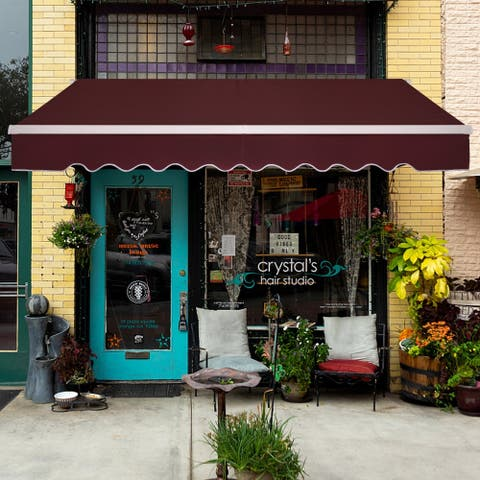 12x10 Ft Retractable Awning Wine Red/Sandy Color