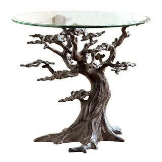 Cypress Tree Metal and Glass End Table - Brown