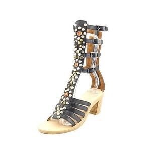 Jeffrey Campbell Klamath Women Open Toe Leather Black Gladiator Sandal