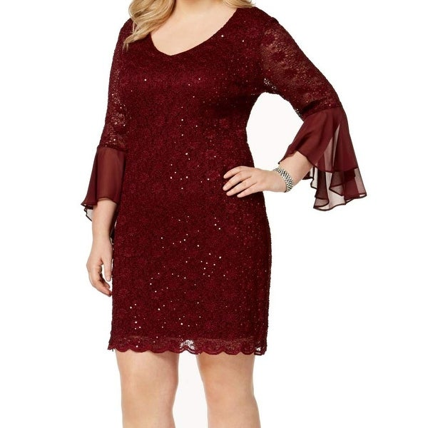 Connected Apparel Red Womens Size 20W Plus Sequin Lace Sheath Dress