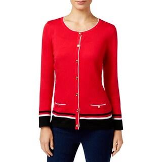 Karen Scott Womens Petites Cardigan Sweater Contrast Trim Knit - pxl