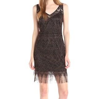 Jessica Simpson NEW Black Womens Size 2 Metallic Lace Sheath Dress