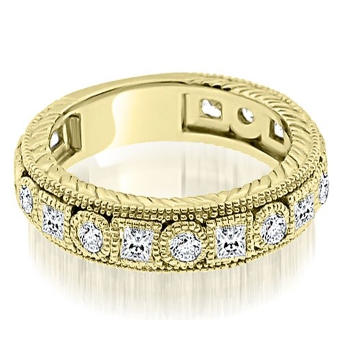 1.50 cttw. 14K Yellow Gold Antique Round And Princess Bezel Diamond Ring